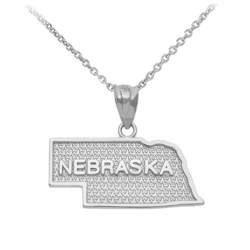 White Gold Nebraska State Map Pendant Necklace