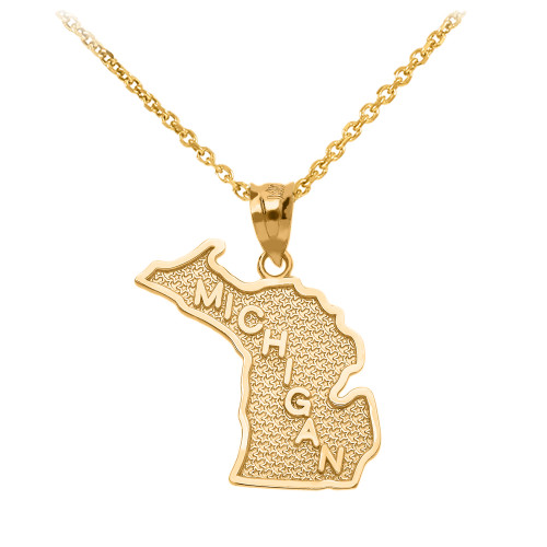 Yellow Gold Michigan State Map Pendant Necklace