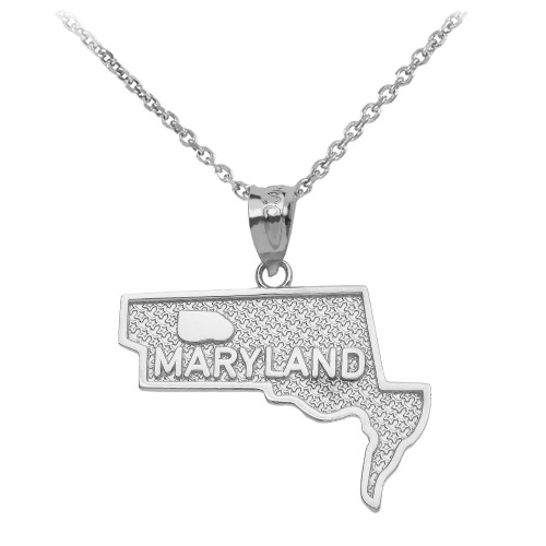 White Gold Maryland State Map Pendant Necklace