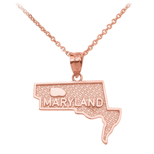 Rose Gold Maryland State Map Pendant Necklace
