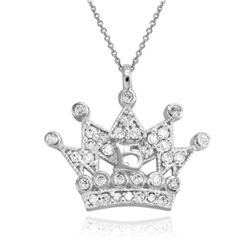 White Gold Quinceanera Princess Crown Pendant Necklace