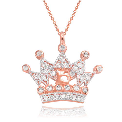 Rose Gold Quinceanera Princess Crown Pendant Necklace