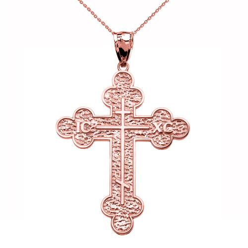 Rose Gold Eastern Orthodox ICXC Cross Pendant Necklace