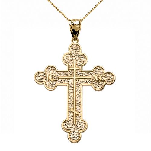 Yellow Gold Eastern Orthodox ICXC Cross Pendant Necklace