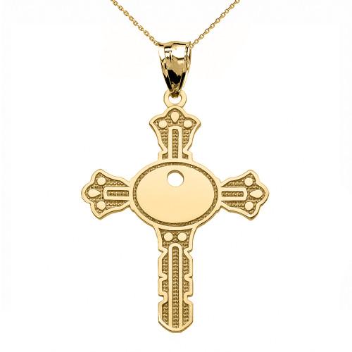 Yellow Gold Unique Design Cross Key Pendant Necklace