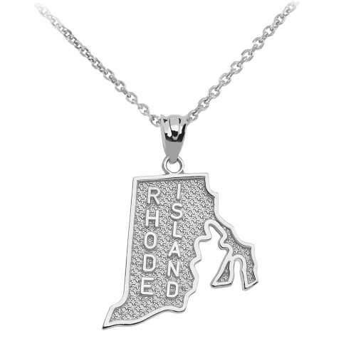White Gold Rhode Island State Map Pendant Necklace