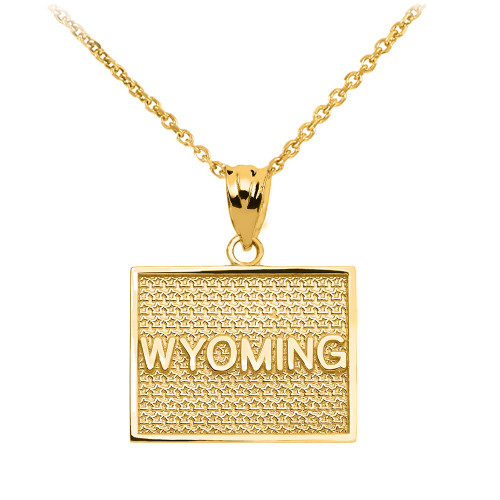 Yellow Gold Wyoming State Map Pendant Necklace
