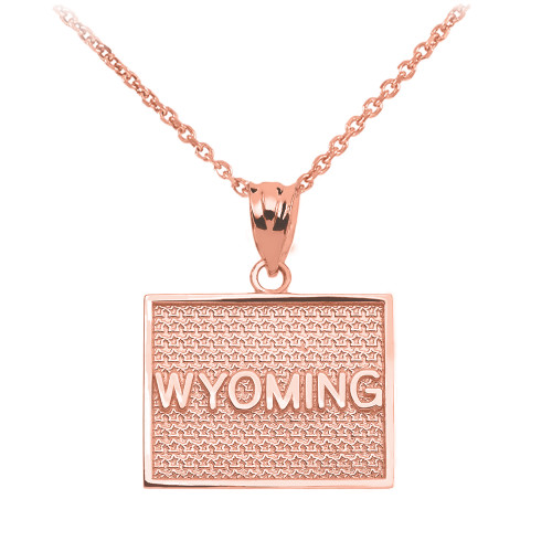 Rose Gold Wyoming State Map Pendant Necklace