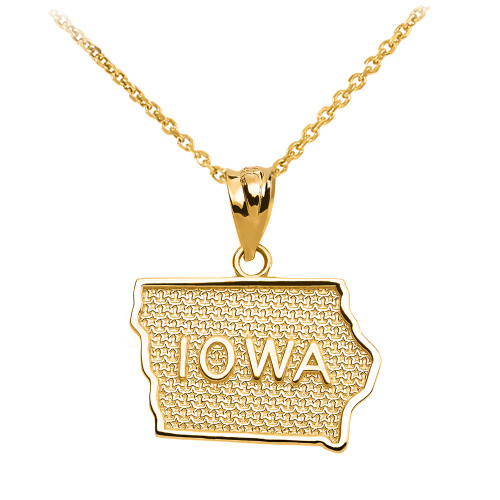 Yellow Gold Iowa State Map Pendant Necklace