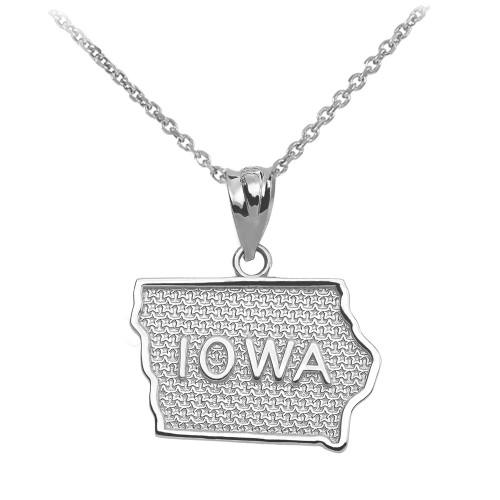White Gold Iowa State Map Pendant Necklace