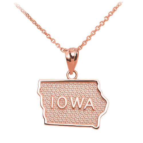 Rose Gold Iowa State Map Pendant Necklace