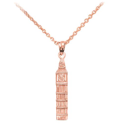 Rose Gold London's Big Ben Clock Tower Pendant Necklace