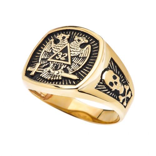 Yellow Gold Scottish Rite 32nd Degree Skull and Crossbones Masonic Ring