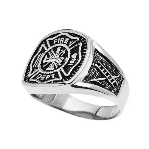 Bold White Gold Fire Department Maltese Cross Ring