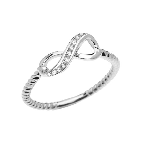 White Gold Dainty Diamond Infinity Promise Ring With Rope Design Band
