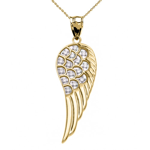 Fancy Yellow Gold Diamond Angel Wing Pendant Necklace