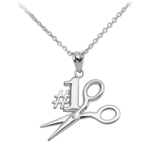 White Gold #1 Hairstylist Pendant Necklace