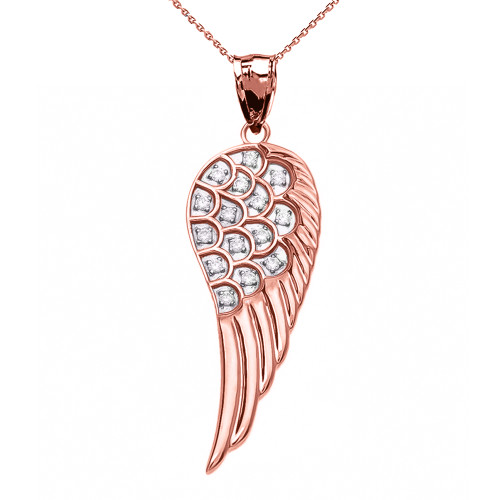 Elegant Rose Gold CZ Angel Wing Pendant Necklace