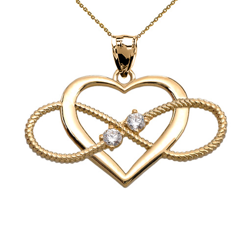 Heart and Infinity Yellow Gold Diamond Rope Design Pendant Necklace