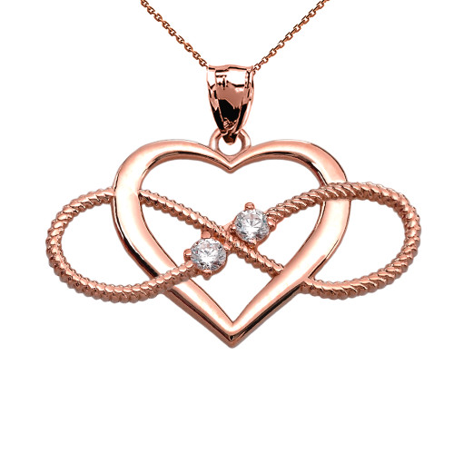 Heart and Infinity Rose Gold and CZ Rope Design Pendant Necklace