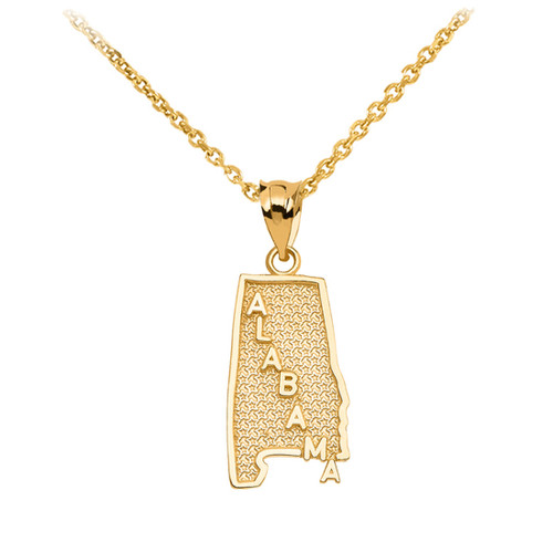 Yellow Gold Alabama State Map Pendant Necklace
