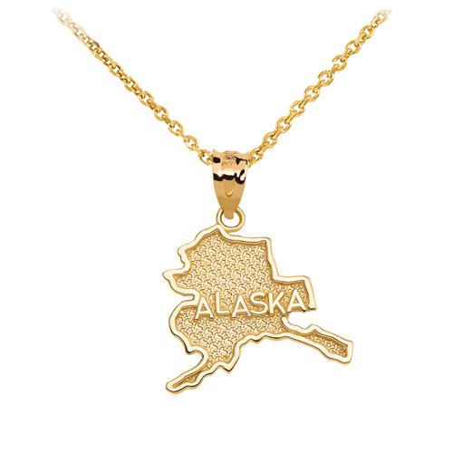 Yellow Gold Alaska State Map Pendant Necklace