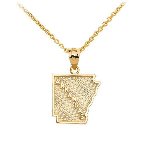 Yellow Gold Arkansas State Map Pendant Necklace