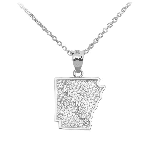 White Gold Arkansas State Map Pendant Necklace