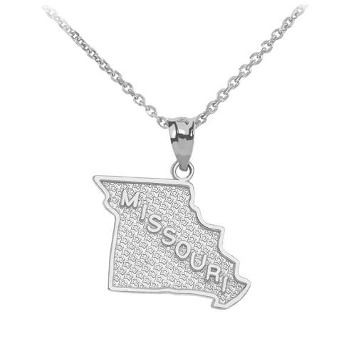 White Gold Missouri State Map Pendant Necklace