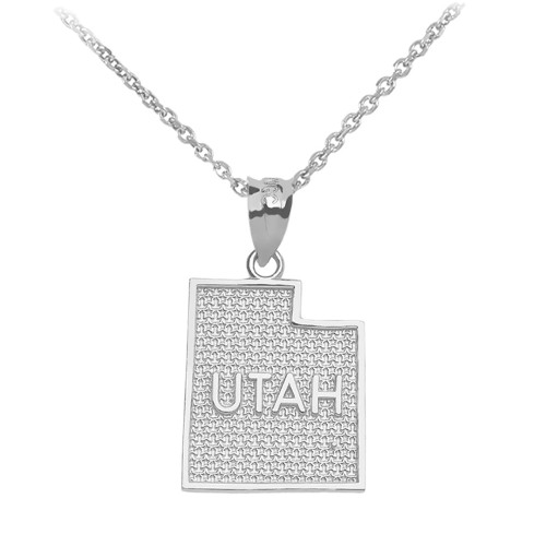 White Gold Utah State Map Pendant Necklace