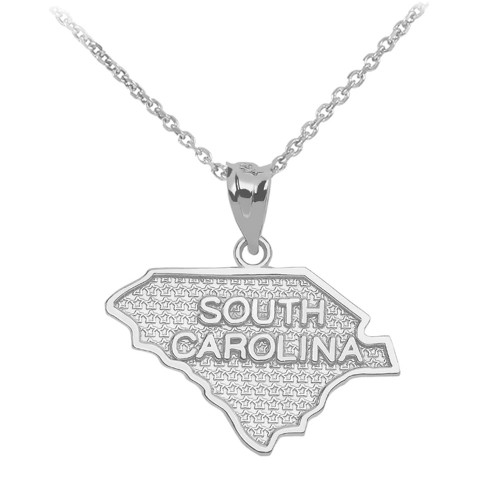 White Gold South Carolina State Map Pendant Necklace