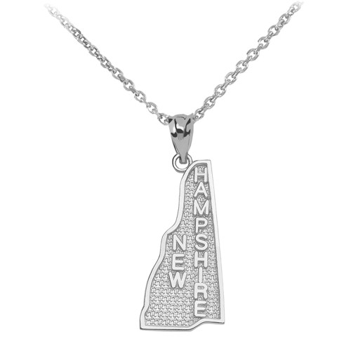 White Gold New Hampshire State Map Pendant Necklace