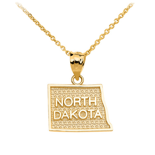 Yellow Gold North Dakota State Map Pendant Necklace