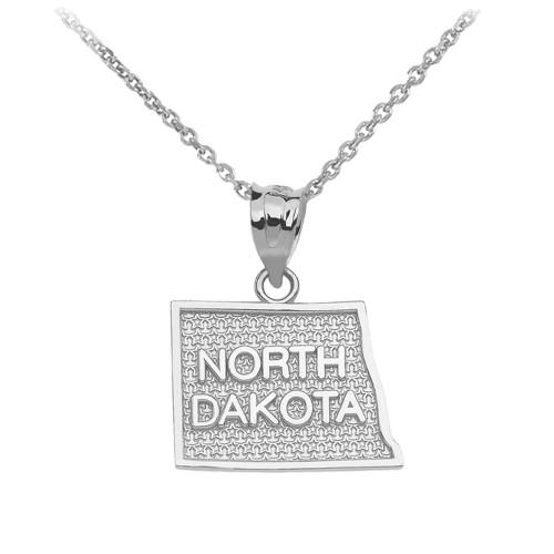 White Gold North Dakota State Map Pendant Necklace