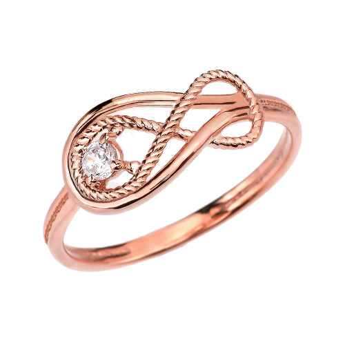Diamond Rope Infinity Rose Gold Ring