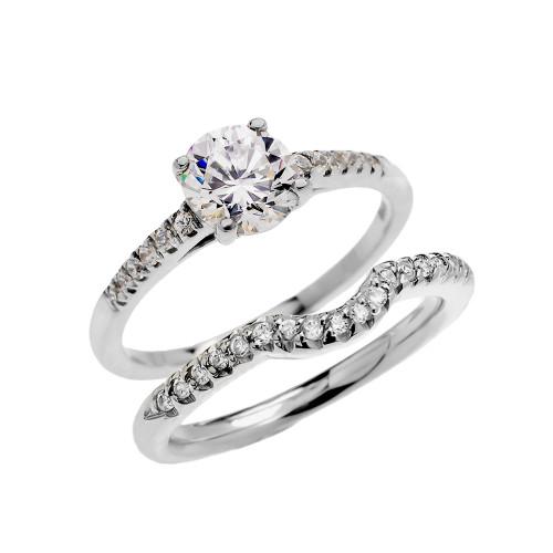 White Gold Dainty Diamond Wedding Ring Set With 1 Carat White Topaz Center Stone