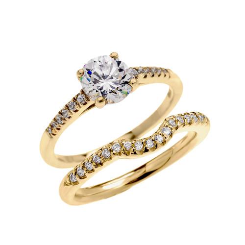 Yellow Gold Dainty Diamond Wedding Ring Set With 1 Carat White Topaz Center Stone