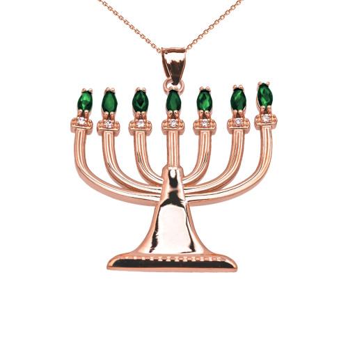 Emerald and Diamond Rose Gold Menorah Pendant Necklace