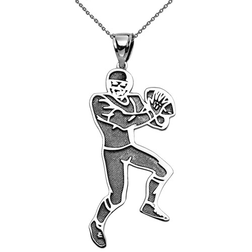 Football Player Sports Sterling Silver Pendant Necklace