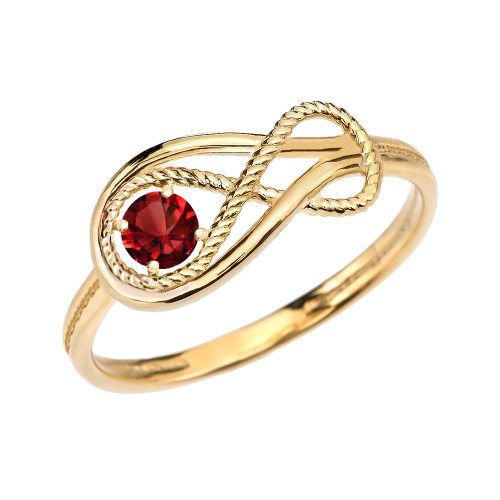 Garnet Rope Infinity Yellow Gold Ring