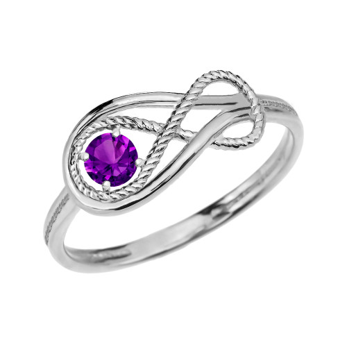 Amethyst Rope Infinity White Gold Ring