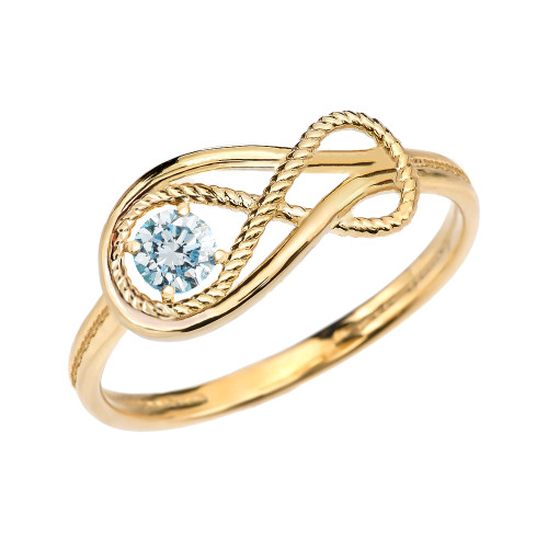 Aquamarine Rope Infinity Yellow Gold Ring