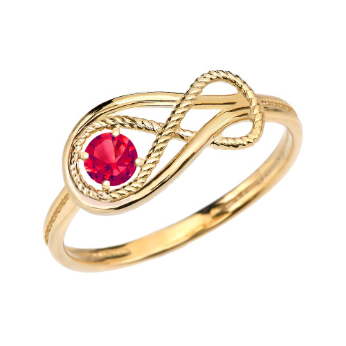 Ruby Rope Infinity Yellow Gold Ring