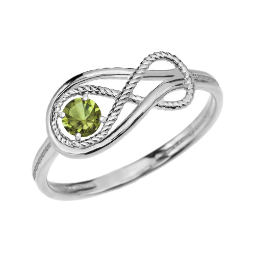 Peridot Rope Infinity White Gold Ring