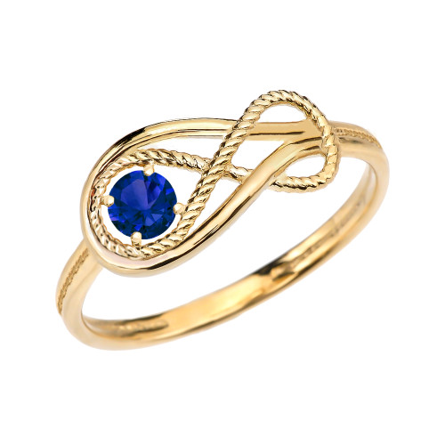 Sapphire Rope Infinity Yellow Gold Ring