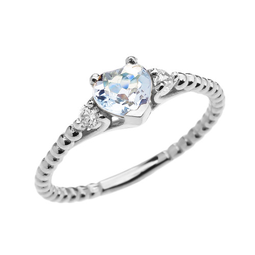 Aquamarine Solitaire Heart And White Topaz White Gold Beaded Band Promise Ring