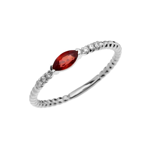 Diamond and Garnet Marquise Solitaire Beaded Band Proposal/Stackable White Gold Ring