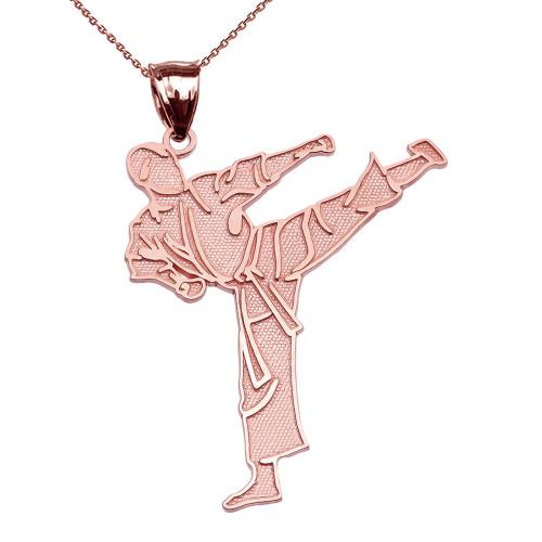 Karate Martial Arts Rose Gold Pendant Necklace