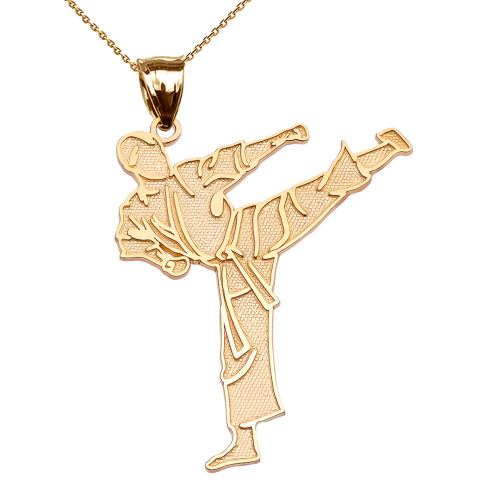 Karate Martial Arts Yellow Gold Pendant Necklace