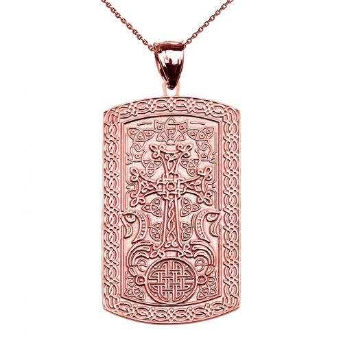 Armenian Cross (Khachkar) Rose Gold Engraveable Dog Tag Pendant Necklace